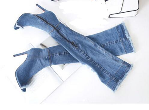 2017 newest denim blue long boots summer sexy peep toe over the knee sandal boots stretch fabric jeans boots thigh high boots 2017 summer newest wedge sandal for woman peep toe denim blue lace up platform sandal sexy embroidery gladiator sandal