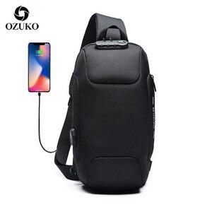 Image 1 - OZUKO Bolso cruzado multifunción para hombre, bolsas de mensajero de hombro antirrobo, impermeable, de viaje corto, 2020