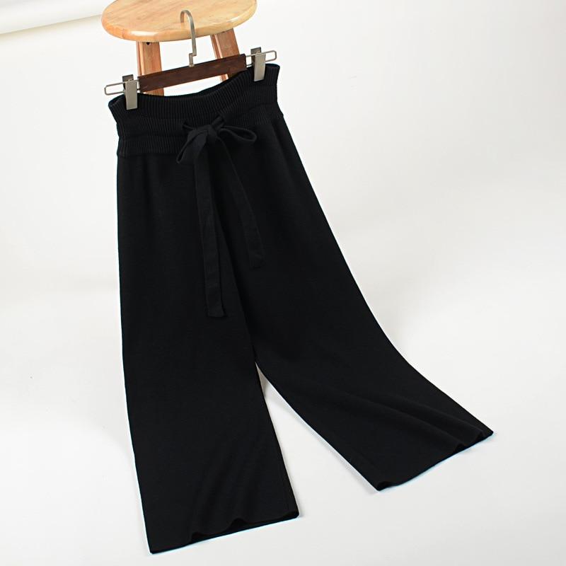 Cintura Pantalón Suelta caqui gris Delgado Suéter Pantalones Punto 2018 Otoño Ocasional Ancho Recto Pajarita Invierno Negro De Mujer El Nueva Y O7qxSnRX