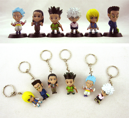 6pcs  Gon Freecss Killua Zoldyck Kurapika Leorio Hyskoa / Hisoka Illumi Key Chain Hunter X Hunter Pendant Action Figure Toys