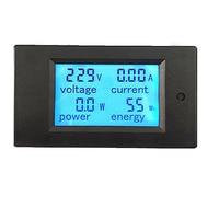 20A Digital AC Voltage Test Blue Backlight LED Power Panel Meter Voltmeter Ammeter LCD Display Measurement