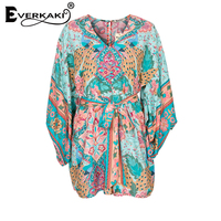 Everkaki Women Boho Rompers Summer Lotus Floral Print Playsuits With Sashes High Waist Gyps Bohemia Playsuit