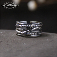 GLSEEVO S925 Sterling Silver Old Retro Thai Silver Wide Ring Fashion Personality Twist Opening Ring Men