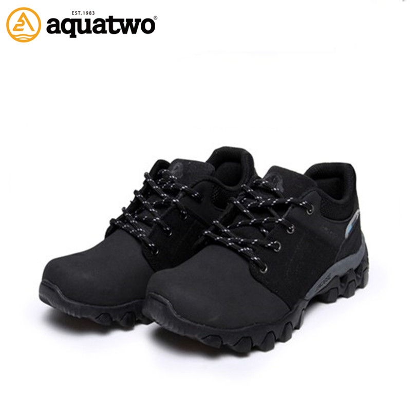 AQUA TWO Outdoor Camping Men Sports Hiking Shoes Genuine Leather Walking Sneakers Durable Breathable Waterproof Shoes ES-101217 aqua two outdoor camping men sports hiking shoes genuine leather athletic trekking sneakers durable waterproof shoes es 101807