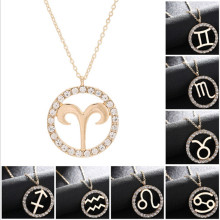 цены Zodiac Constellation Necklace Gold Virgo Libra Scorpio Sagittarius Capricorn Aquarius clavicle Necklaces Circle Pendant Kolye S3