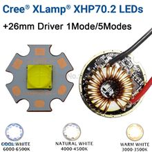 Cree XHP70.2 6V blanco frío blanco neutro blanco cálido emisor de LED de alta potencia 16mm 20mm cobre PCB + 26mm 1 modo o 5 modos controlador