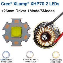 Cree XHP70.2 6V zimny biały neutralny biały ciepły biały wysoka dioda led dużej mocy nadajnika 16mm 20mm z miedzi z pcb + 26mm 1 tryb lub 5 trybów sterownika