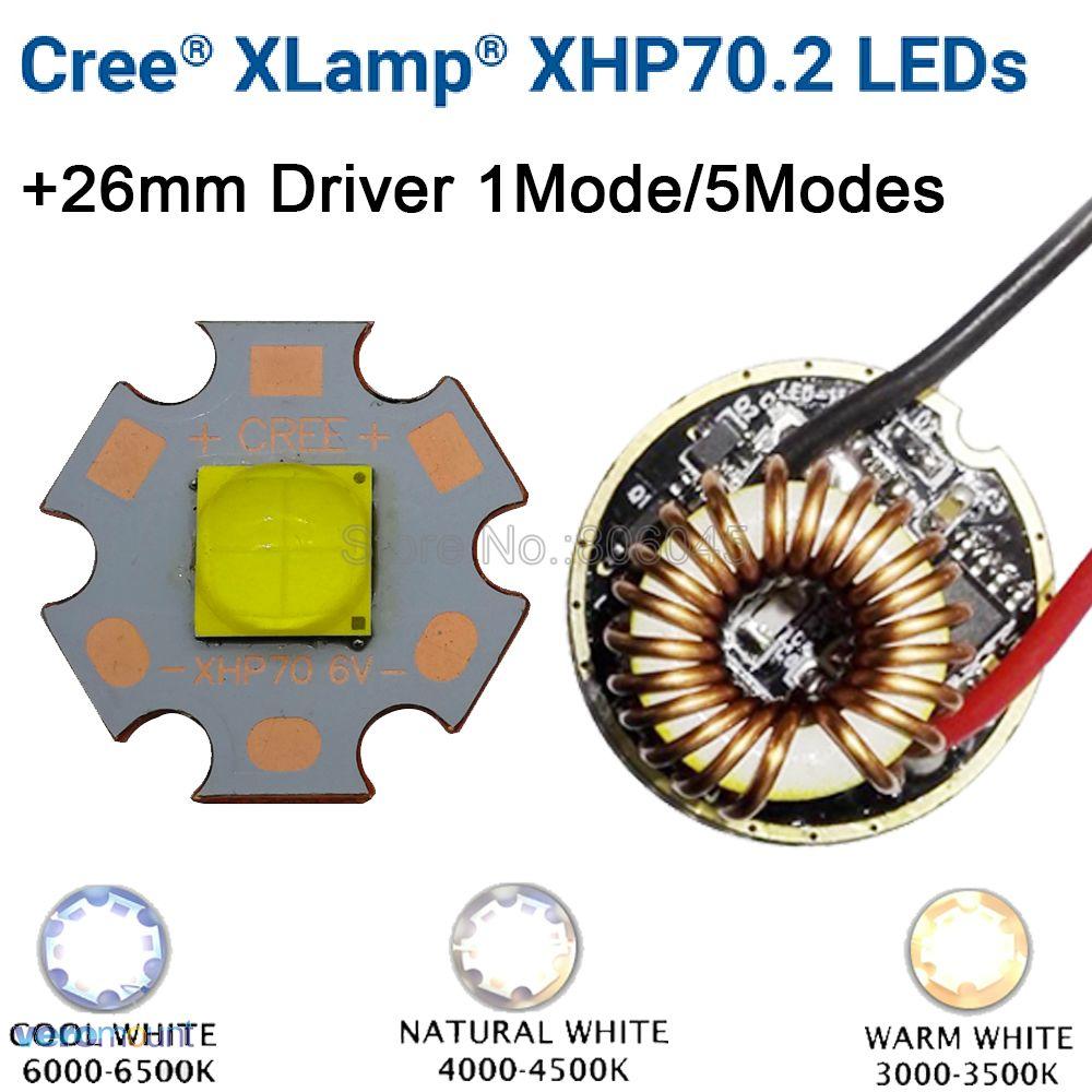 Cree xhp70.2 6 v branco fresco neutro branco quente branco de alta potência led emissor 16mm 20mm cobre pcb + 26mm 1 modo ou 5 modos motorista