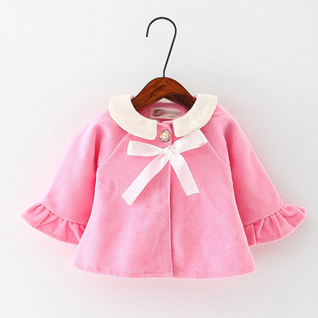 2016 Winter Coat Jacket Princess Style Fashion Design Trumpet Sleeves Woolen Coat for Girls Sweet Kids Clothing Childrens Coat
