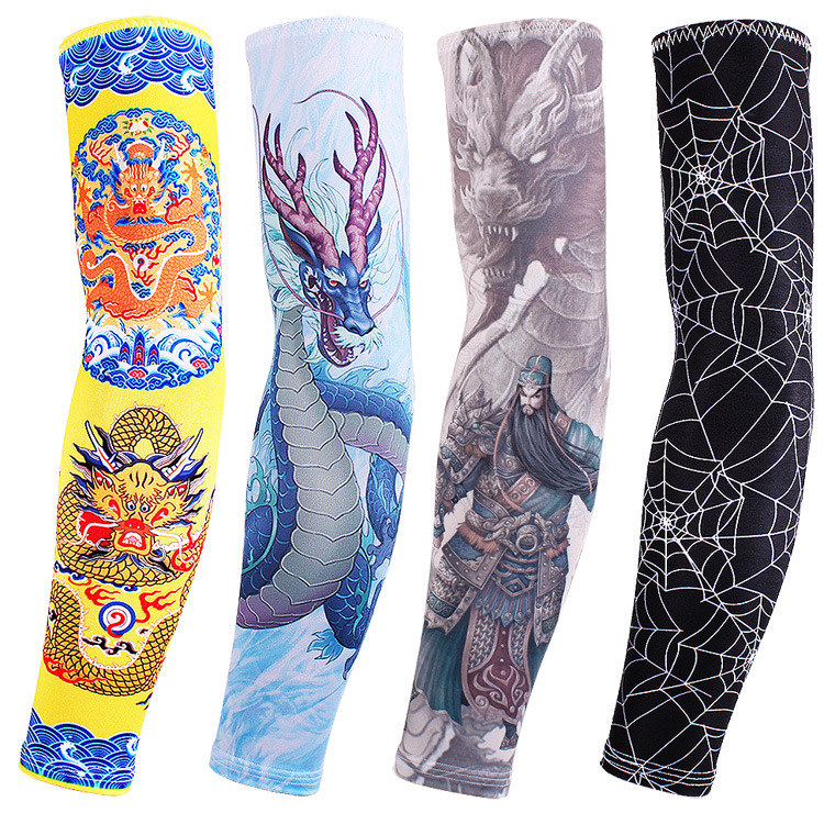 10pairs Quality UPF50 Tattoo Print Arm Warmers for Golf Riding Hiking Fishing Men Long Sleeves Skeleton Elbow Covers Wholesale
