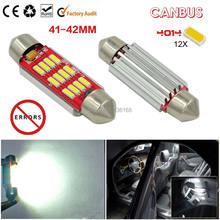 4 pçs/lote extrema brilhante branco livre de erros canbus 41-42mm 6 w alta potência 12-smd-4014 led festão lâmpadas não-polar 12 v