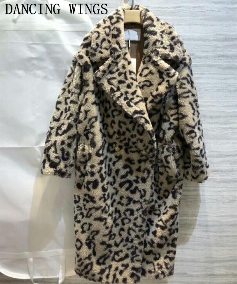 Cappotto di inverno Delle Donne 2018 Sexy Del Leopardo Delle Donne Allentate Teddy Bear di Pecora Giacca di Pelliccia di Pista Femminile Outwear Cappotti