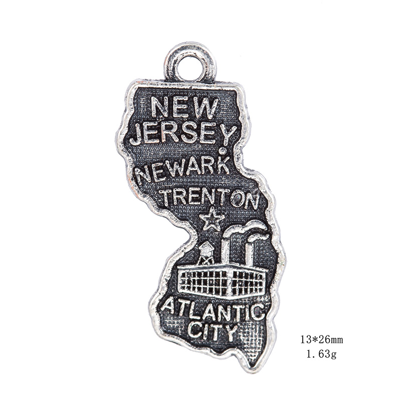 50PCS Silver 2 Style New Jersey State Map Dangle Charms DIY for Bracelet&Necklace Jewelry Wholesale
