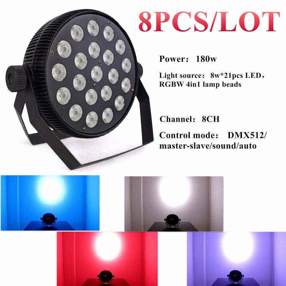 8PCS/LOT dj DMX 21PCS silent par led RGBW 4 in 1 for disco light led stage light and party lights led disco DJ equipment