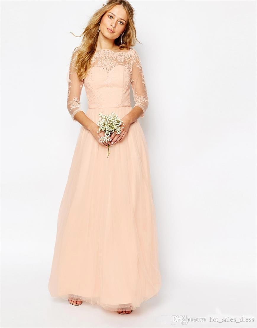 Online shop 2017 peach pink lace chiffon long bridesmaid dresses online shop 2017 peach pink lace chiffon long bridesmaid dresses long sleeves tulle wedding party gowns cheap maid of honor dress b78 aliexpress mobile ombrellifo Images