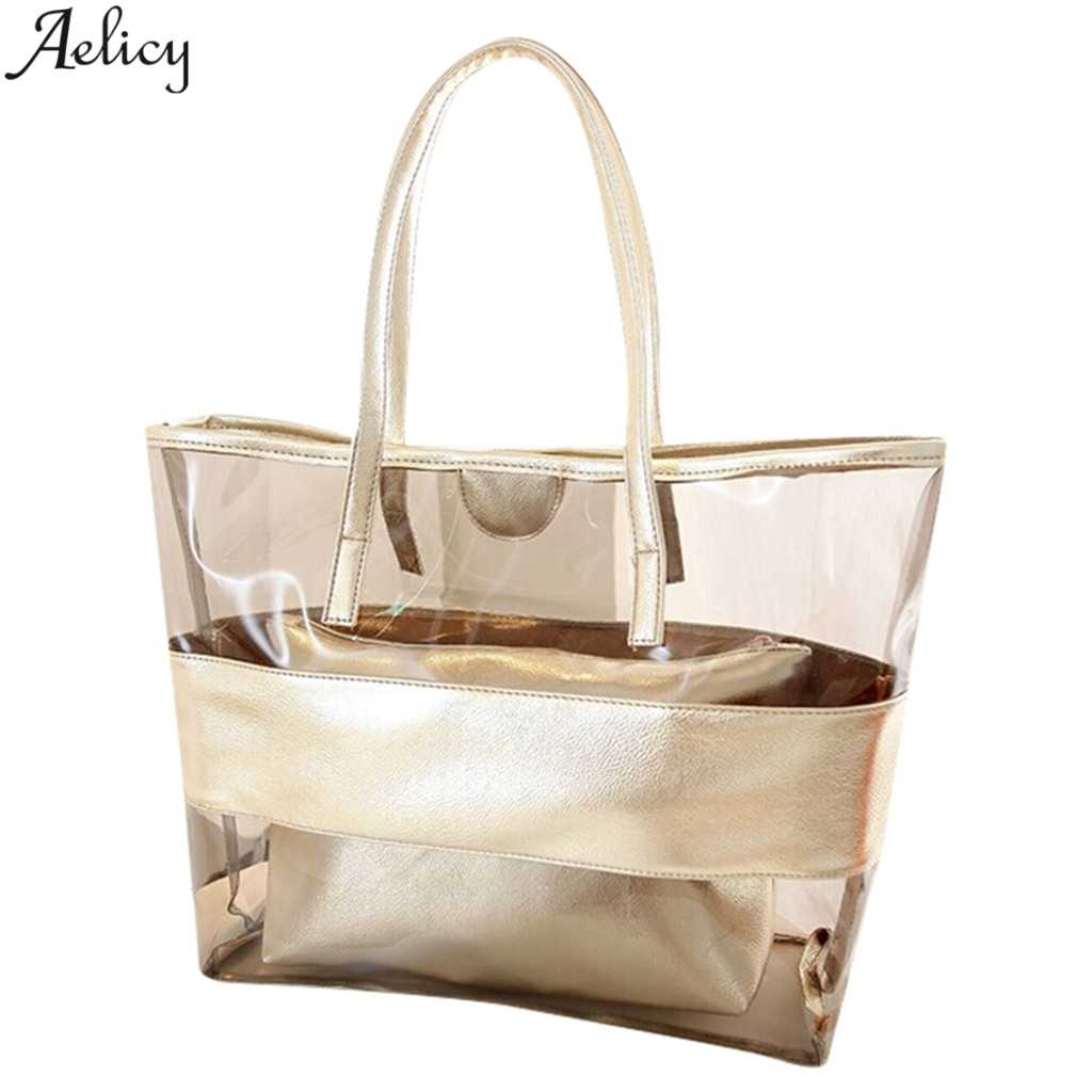 Aelicy Fashion Shoulder Bags For Women Versatile Transparent Beach Jelly Handbag Single Pvc Satchels 2 Pieces Solid Bags
