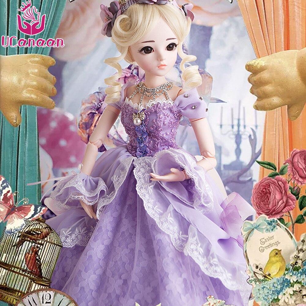 UCanaan 60 CM Femmina di Grandi Dimensioni Bambola BJD High-end Con Vestito BJD vestiti Parrucche Scarpe Trucco Della Ragazza Della Principessa SD Bambole Reborn Bambini giocattoli