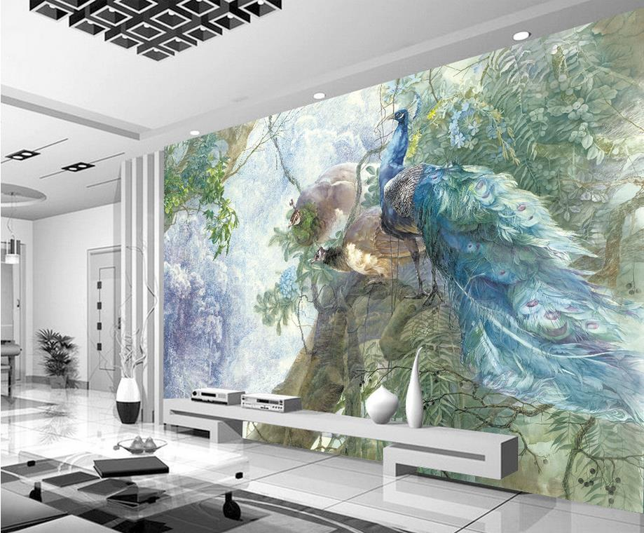 Popular peacock wall mural buy cheap peacock wall mural for Mural 3d simple