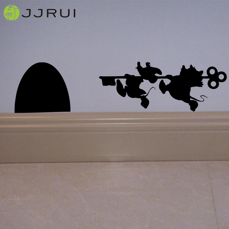 JJRUI Tikus Tikus Lubang pintu Rumah Wall Art Sticker Vinyl Decal Papan Skirting Rumah Lucu 11x3.1in