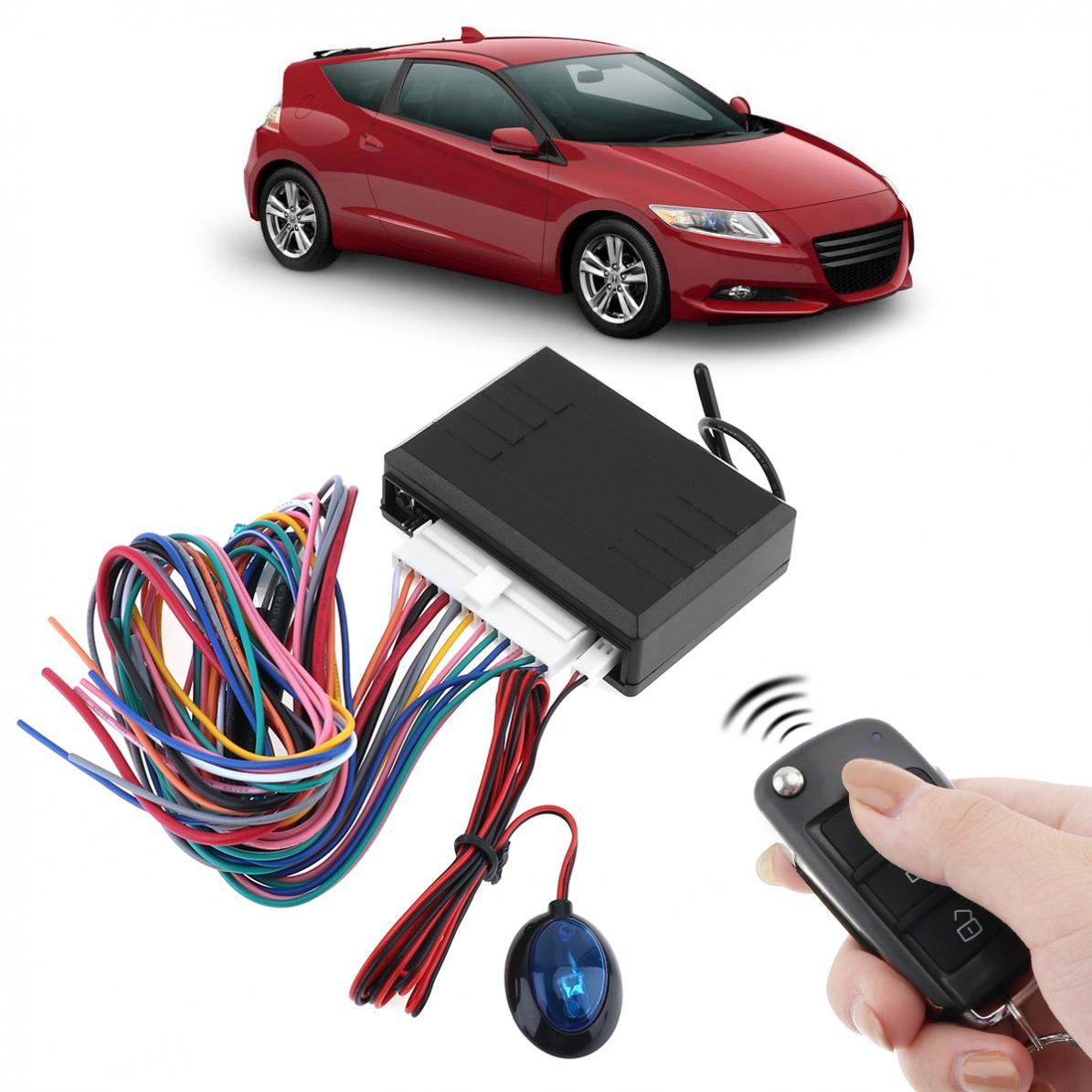 Système d'alarme automatique de voiture 12 V indicateur LED système d'entrée sans clé de véhicule avec télécommande et serrure de porte automatiquement