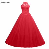 Ruby Bridal Hot Sale Sexy Red Prom Dresses Ball Gowns Long Tulle Appliques Beaded Lace Up Hot Strapless Sweet 16 Dresses R292