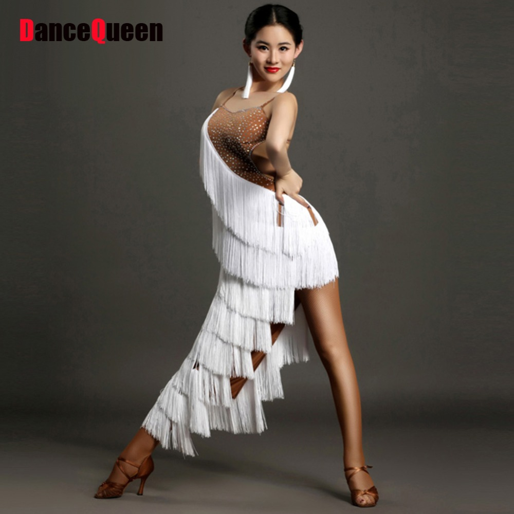 2018 Latin Fringe Dress Ballroom Dancing Dresses China Tassel White Costume  For Dance Club Dresses Samba Dance Dress c10a9a5c8