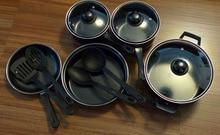 CARBON STEEL TUREENS UTNSIL 12pcs COOKING POTS SET  pot kitchen multi-purpose nutrition cookware