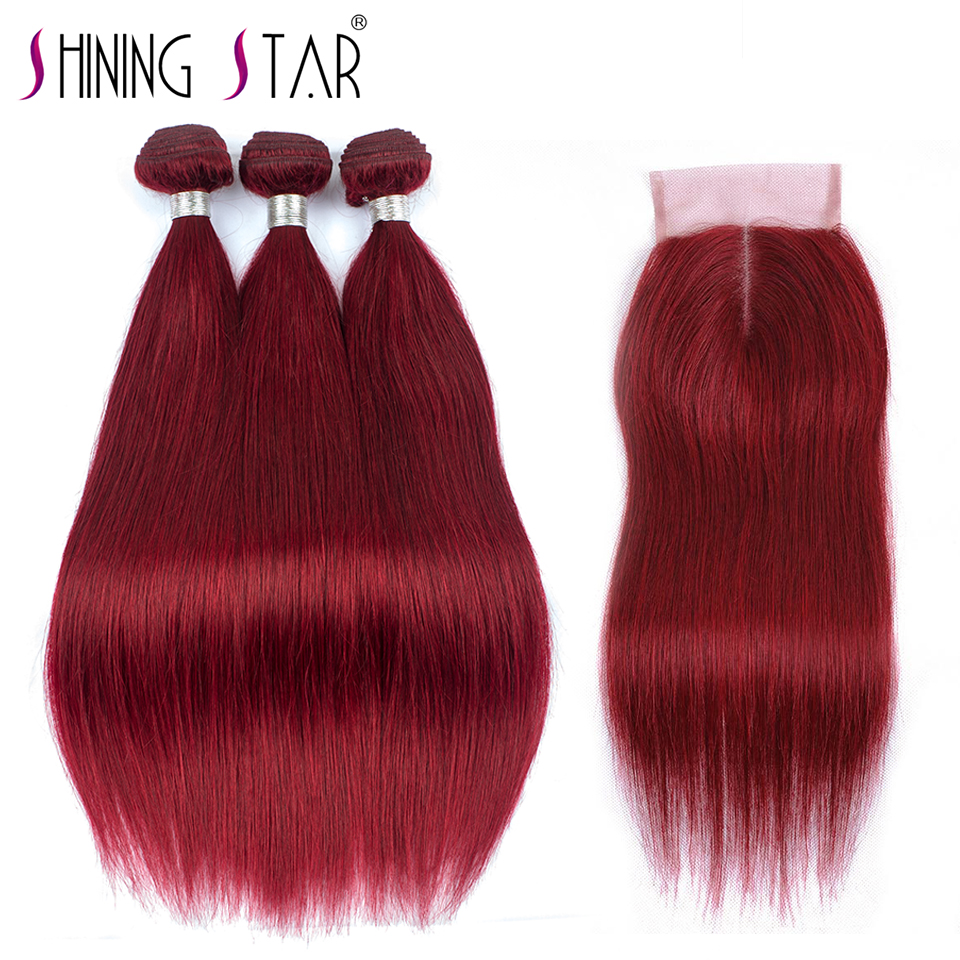 Shining Star 99J Red Malaysian Straight Hair Bundles With Closure Burgundy Human Hair Weave 3 Bundles
