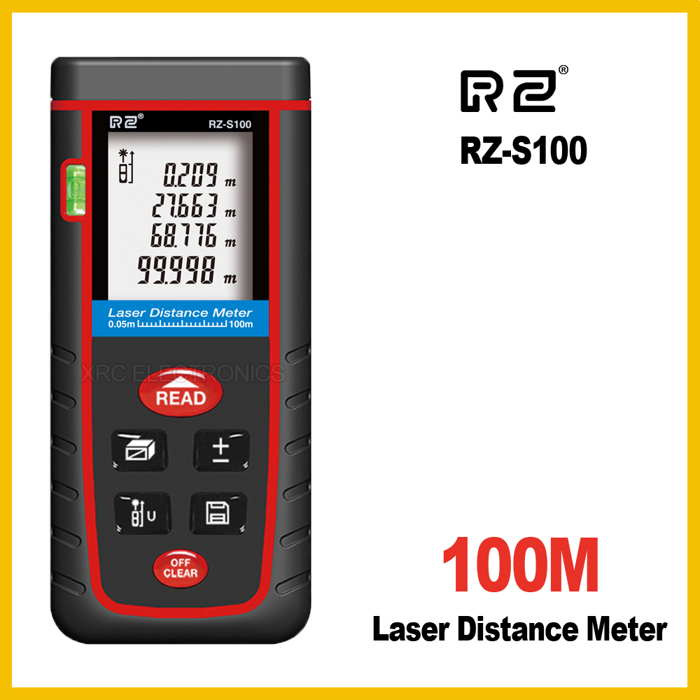 RZ RZ-S100 100M Laser Distance Meter Rangefinder Range Finder Electronic Ruler Digital Tape Measure Area volume Tool Bubble portable d100 100m electronic digital laser power tape measure