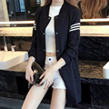 Plus Size XL-5XL 2016 Autumn New Fashion Casual Spell Color Stripe Long Sleeve Jacket AXD1662