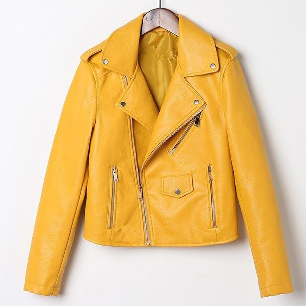 Female Veste La Chaqueta Manteau Abrigo Lady Motorcycle Pu   Leather   Jackets Women Winter Coats Fall Zipper Outerwear Jacket Coat