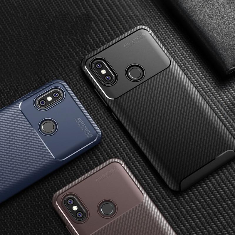 Business Carbon Fiber Case for Xiaomi Mi A2 Lite 6X 8 SE Redmi 6 Pro 6A 5 Plus Note 5 6 Pro Pocophone F1 Soft Silicone TPU Cover