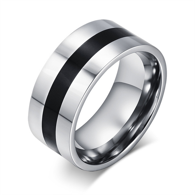 High quality classic ring Silver plated titanium steel with black resin wedding rings for men ring fine jewelry for men's gifts