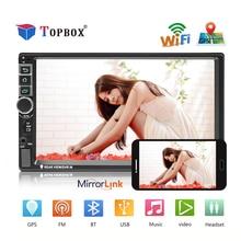 Topbox 2 Дин Радио Android gps-навигация Авторадио Bluetooth, Wi Fi MirrorLink мультимедийный плеер Поддержка Camrea аудио стерео