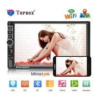 Topbox 2 din Car Radio Android GPS Navigation Autoradio Bluetooth Wifi MirrorLink Multimedia Player Support Camrea Audio Stereo