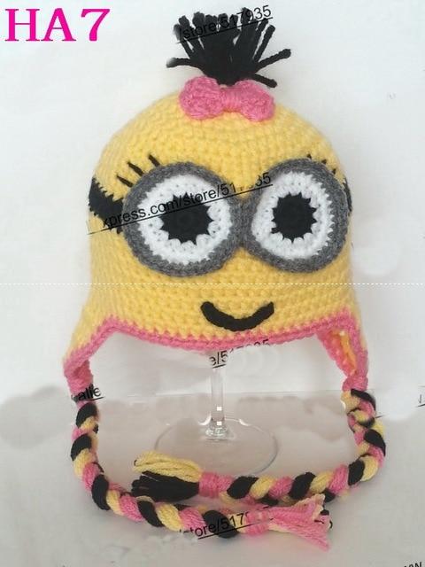 cfca518643b6e 100% Handmade Crochet Baby Hat Infant Winter Earflap Hat Cartoon Minion hat  Beanie Photo Prop