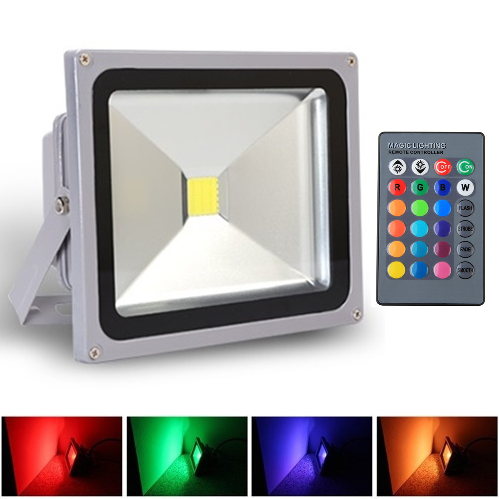 MultiColor 20W LED Flood Lights AC85-265V Waterproof IP65 Floodlight Spotlight Outdoor Lighting Projection Lamp Free Shipping dc12v 6w led underwater lights led flood light waterproof lamp spotlight lighting