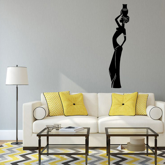 44x72cm Hot Sexy Indian Women Wall Stickers Removable Sitting Livingroom  Bedroom Wall Bakground Decoration Sticker
