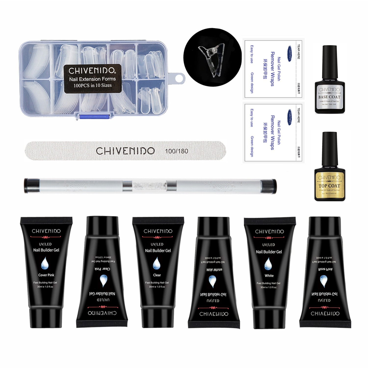 CHIVENIDO Poly Gel Nail Kit - 30ml 6 Colors Extension Gel, 100Pcs Acrylic in 10 Sizes, Art Gift Set with Box
