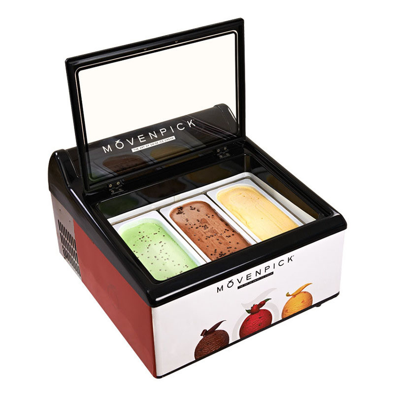 Desktop Refrigerator Ice Cream Commercial Freezer Frozen Dessert Display Refrigerator Ice Counter Cabinet