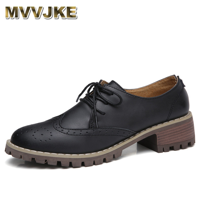 MVVJKE Women Oxford Shoes Med Heel Leather Laces Round Toe Ladies Low Top Spring Shoes Women Casual Footwear 2018 New Autumn e lov women casual walking shoes graffiti aries horoscope canvas shoe low top flat oxford shoes for couples lovers