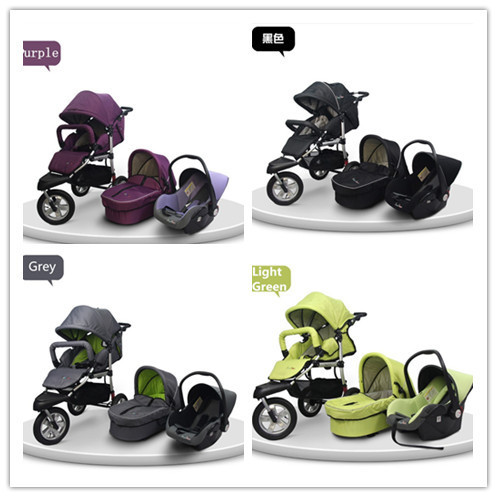 Foldable And Multifuctional Carriage For Baby Carrycot and Car Seat 3 In 1 Prams For Kids With 3 Big Wheels 6 Colors For Choice