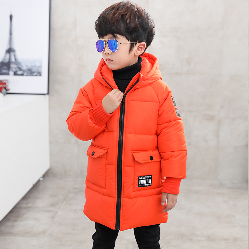 boys winter Coat hooded 5-13 years old kids down jacket children's parkas warm Long trench coat Solid color windproof fashion топ