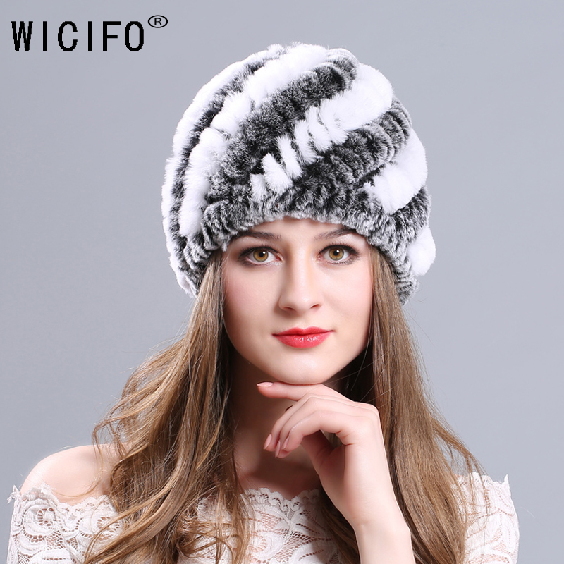 2019 Lady Winter Natural Real Rex Rabbit Fur Hat Girl 100% Rex Rabbit Fur Cap Warm Soft Knitted Genuine Fur Skullies Beanies