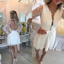 Elegante Weiße A-line Spitze Mini Homecoming Kleider 2016 Langarm Sheer Zurück Kurze Abschlussball-kleid Günstige Kurze Heimkehr Kleid