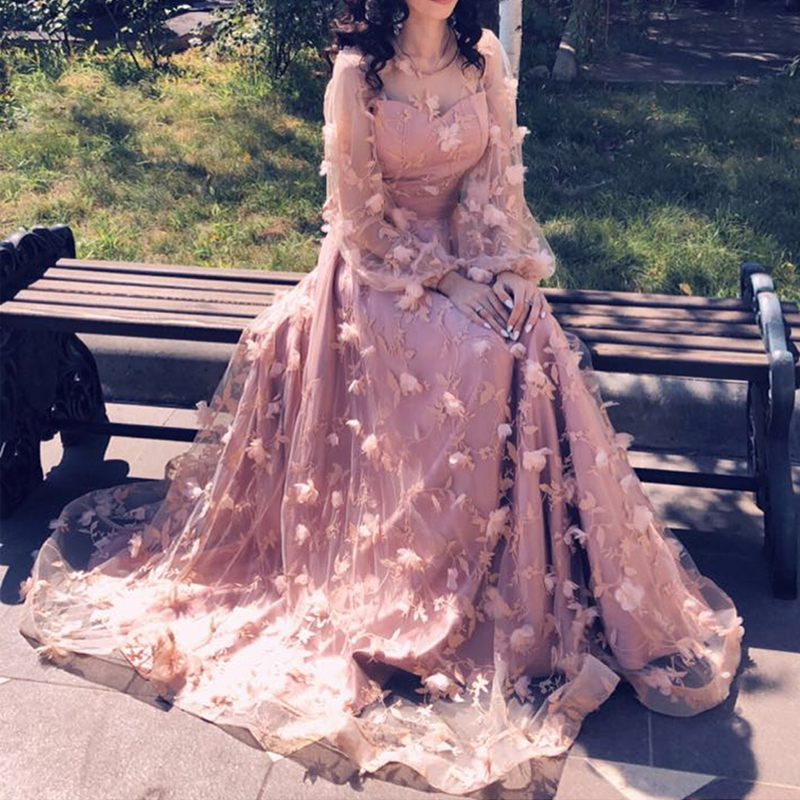 Princess Newest Long Sleeves Flower Formal   Evening     Dresses   Long Fashion Elegant Sexy Beach Party Prom Gowns 2018 YeWen