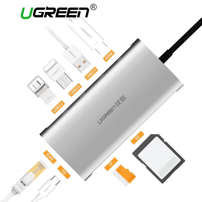 Ugreen USB HUB Alle in Einem USB-C zu HDMI VGA Kartenleser RJ45 PD Adapter für MacBook Samsung Galaxy S9/S8/S8 + Typ C HUB USB 3,0