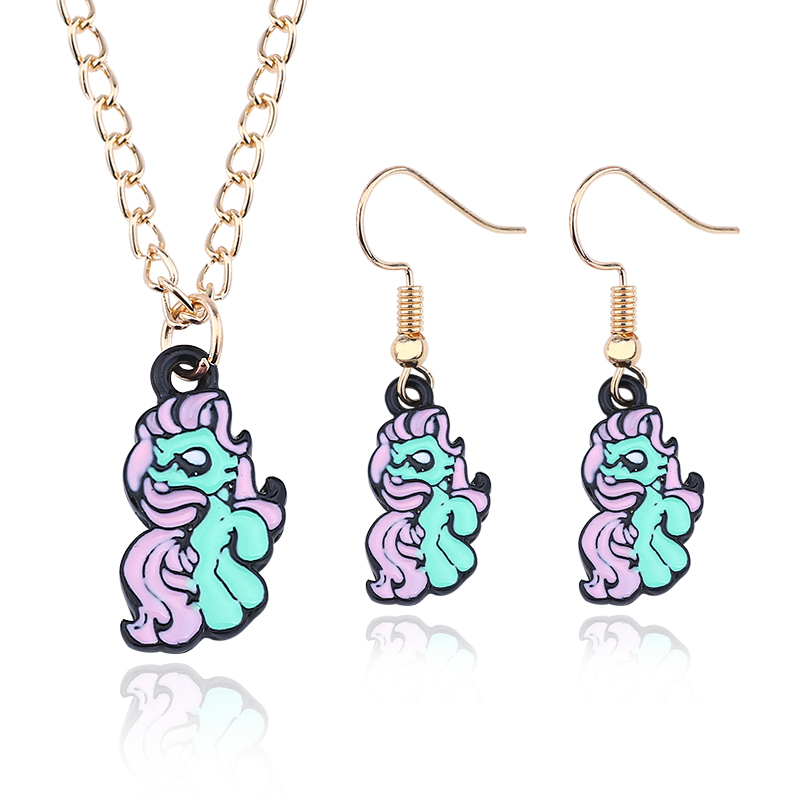 Jewelry Set Cute Animal Necklace Rainbow Horse Earrings For Women DIY New Year Gift Childhood Necklaces