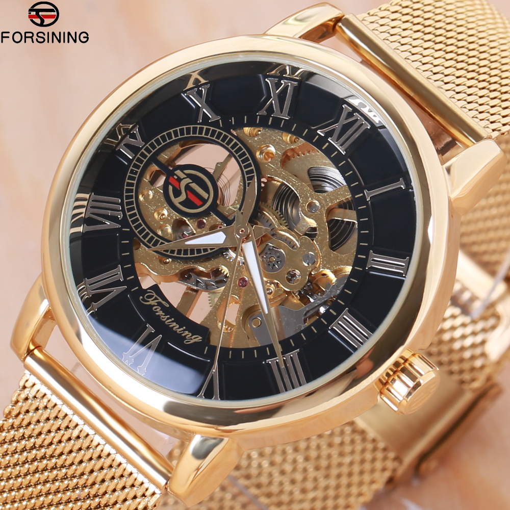 Forsining Transparent Case 2018 Fashion 3D Logo Engraving Golden - Men's Watches