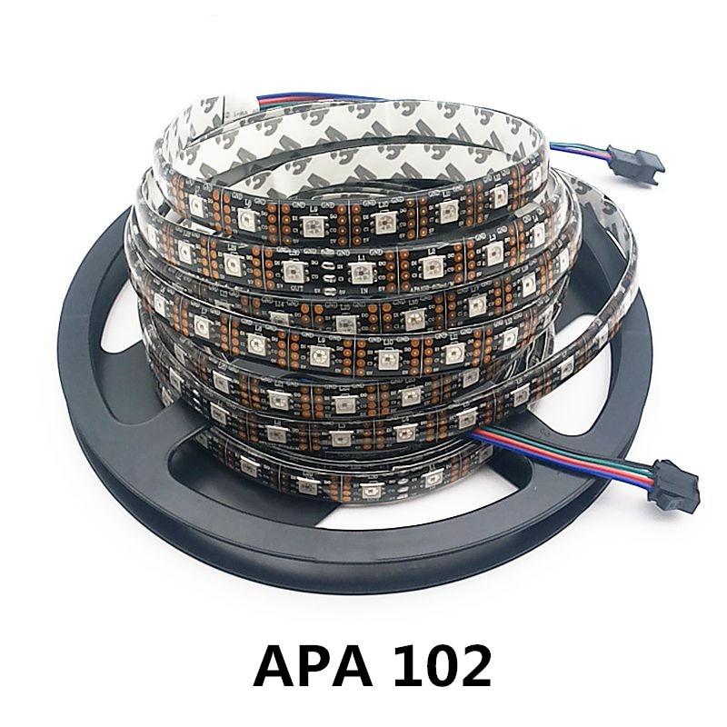 5m 36/60/96 leds / m APA102 60led / M 5050 RGB Қара Толық - LED Жарықтандыру - фото 1